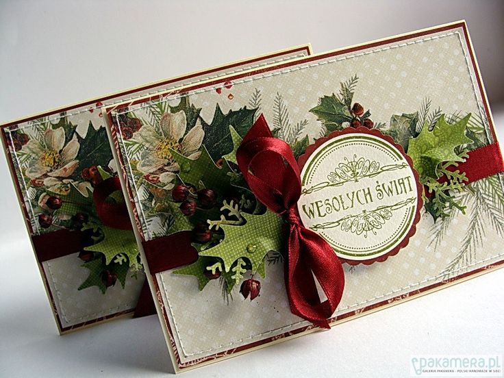Wesołych Świąt - 2 kartki - scrapbooking - kartki okolicznościowe - Pakamera.pl