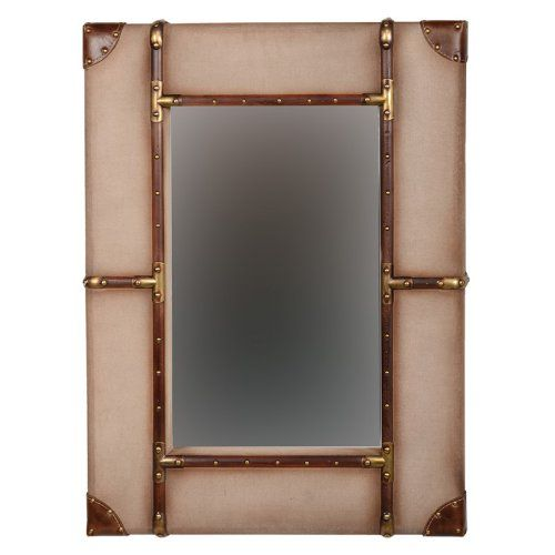 Canvas Wrapped Aluminum Frame Wall Mirror - Beige - Mirrors at Hayneedle