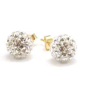 The Olivia Collection 9Ct Gold 8mm Crystal Ball Stud Earrings