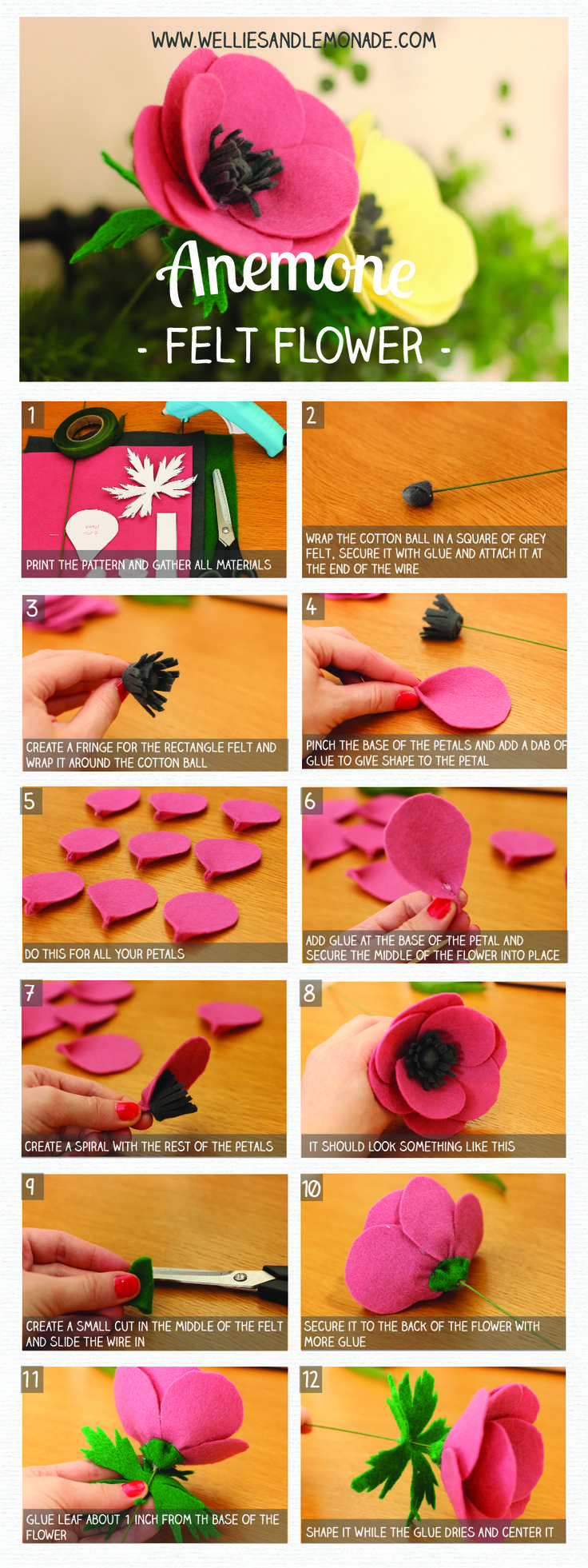 Anemone felt flower step by step tutorial and free pattern included. Click through to read or pin now for later. Find more at http://www.welliesandlemonade.com