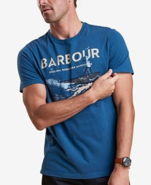 BARBOUR MEN'S TETRA DARK BLUE LOGO-PRINT T-SHIRT. #barbour #cloth #