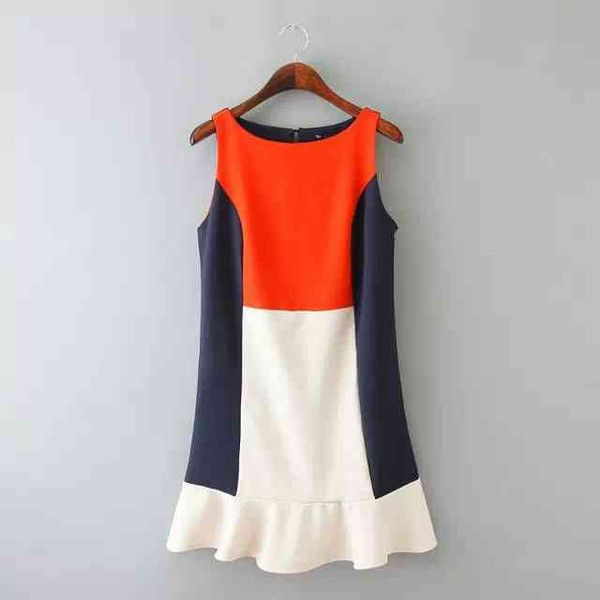 Channel the iconic Twiggy style with the color block mini dress in orange, blue and cream. #favorites