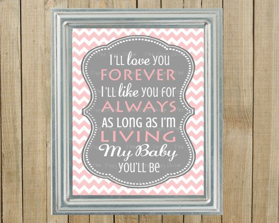 Trendy Pink Chevron with Gray Love You Forever by PinkPoppyDesign