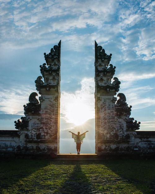 travelgurus: Sunset over Mt. Agung volcano-Lempuyang Temple...