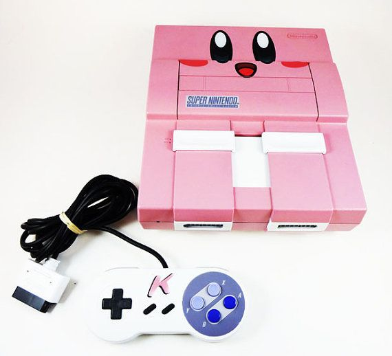 CUSTOM Kirby Super Nintendo Game Console and Controller - Custom Painted SNES - Kirby's Dreamland Nintendo Collector PIece - Retro videogame