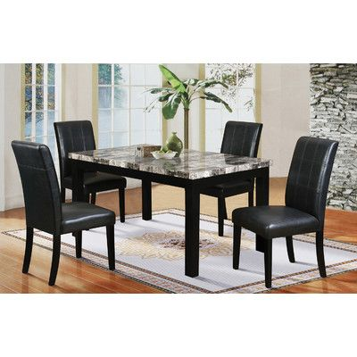 Hazelwood Home 5 Piece Faux Marble Dining Set