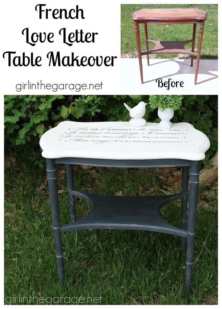 French love letter table makeover themed furniture day for Furniture 6 letters