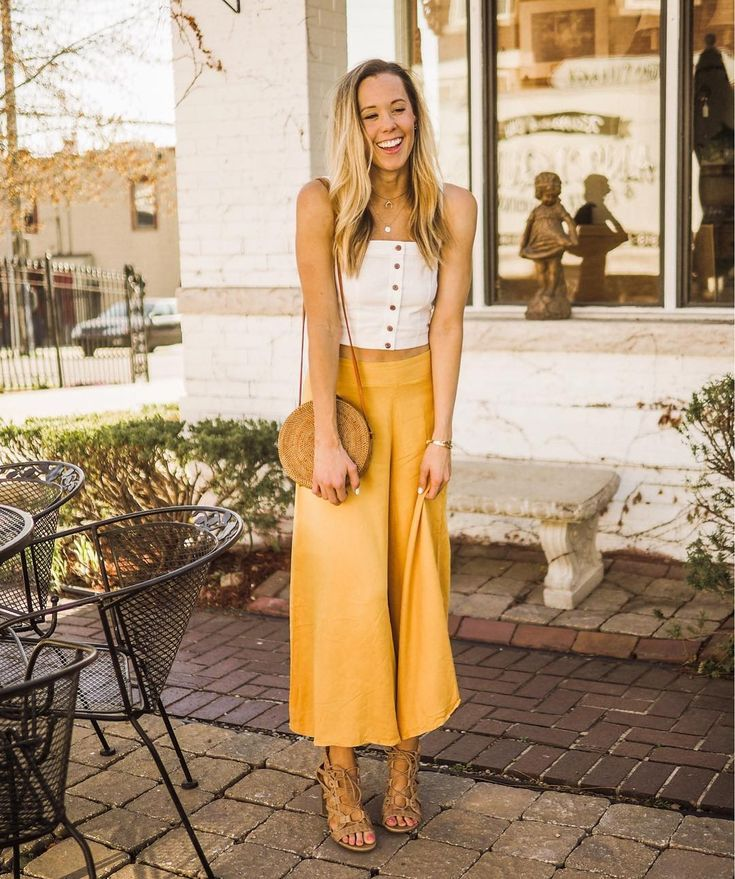c8a1fcce3769ad mustard yellow culotte pants lace up heels white button down crop top circle  bag