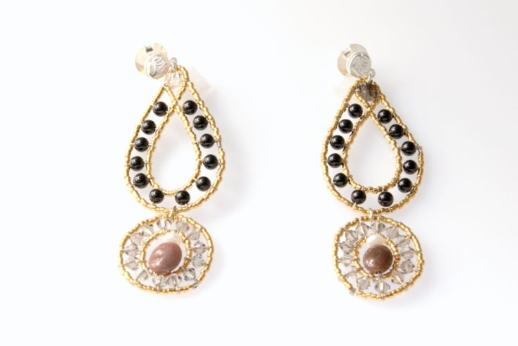 Ohrringe, Chandeliers, Schmuck, Silber, Halbedelsteine, Glasperlen, handgemacht PACCO Jewelry