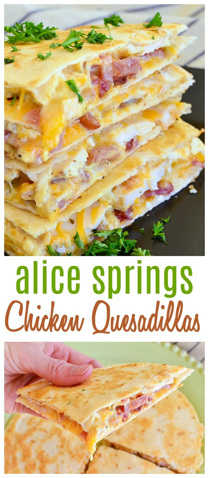 Alice Springs Chicken Quesadillas have so many of my favorite foods wrapped up in one bite: Bacon, grilled chicken, cheese, and honey mustard! This just might become you new go-to quesadilla this summer! #chicken #quesadilla #honeymustard