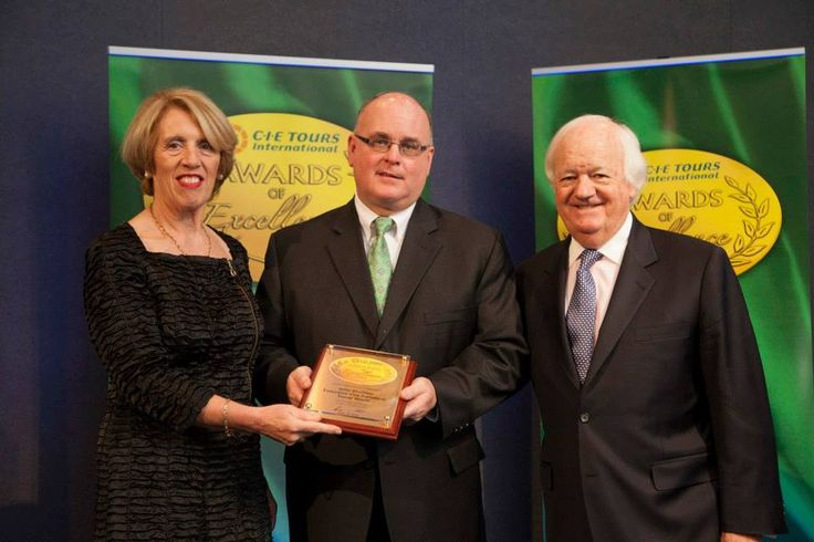 2014 Awards: Lifetime/Outstanding Contribution award to John Madden from Travelworld, PA, USA. Award was presented by Brian Stack, Managing Director of CIE Tours International and Ms. Vivienne Jupp, Chairman of CIE Group. Photo: John Ohle. #cieawards — at Dublin Castle.