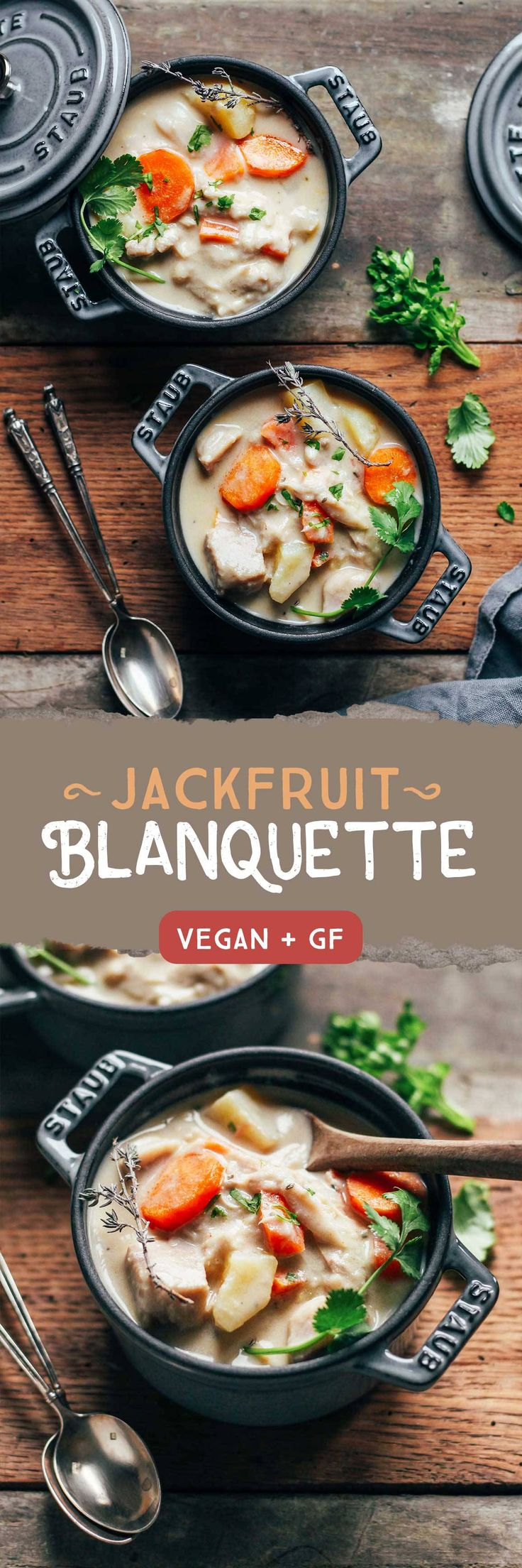Jackfruit Blanquette. Looks good! Different type of soup loaded with veggies.