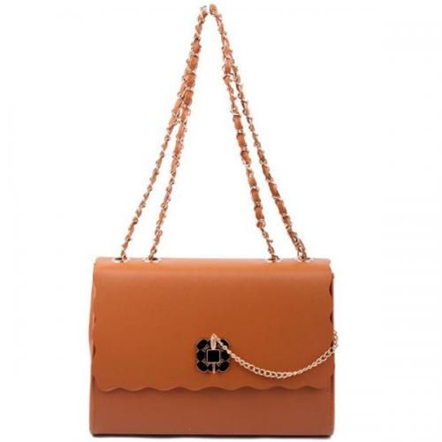 Brown Faux Leather Chain Link Strap Elegant Handbag