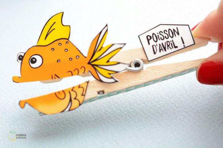 poisson d 39 avril en pince linge de madame citron poisson d 39 avril pinterest bricolage. Black Bedroom Furniture Sets. Home Design Ideas