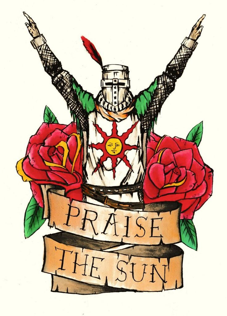 Solaire from Dark Souls in a kind of tattoo flash style. Done with a brush pen and watercolours.