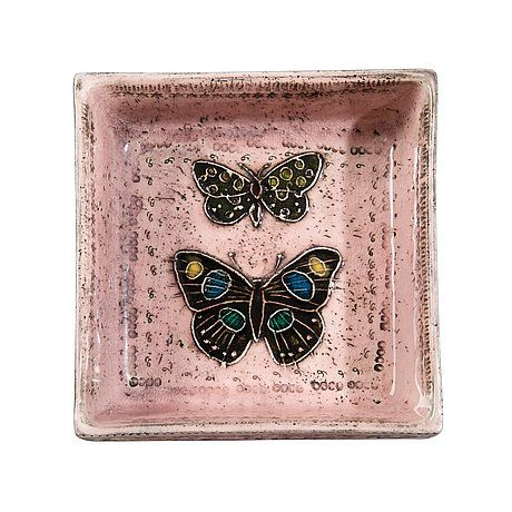 Rut Bryk Two butterflyes, ceramics late 50s 12,3x12,3cm