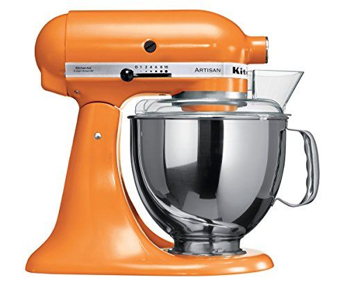 KitchenAid Artisan 5KSM150PSDTG 10 Speed 4.7 Litre (5Qt) 300 Watt Tilt Head Stand Mixer with Flat Beater Dough Hook Whisk Stainless Steel Bowl & Pouring Shield (Tangerine)