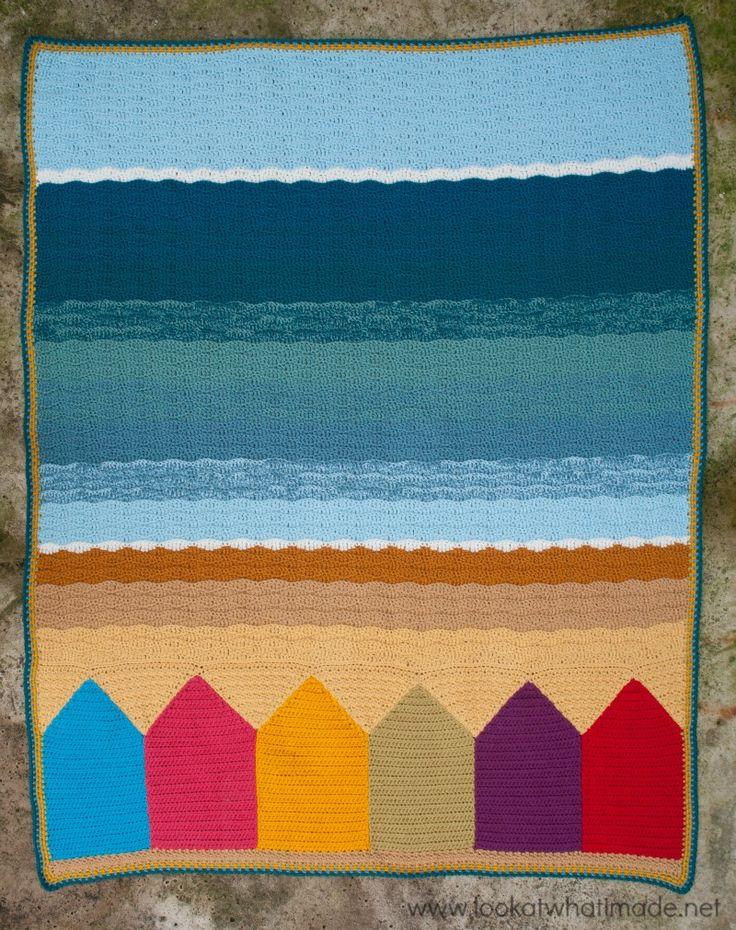 Summer in Swanage Crochet Blanket Beach Huts Seaside