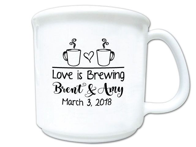 100 Wedding Favors Love is Brewing Personalized 8oz Plastic Coffee Mugs and Cocoa Mugs Winter Wedding Cocoa Bar Favors by Factory21 on Etsy