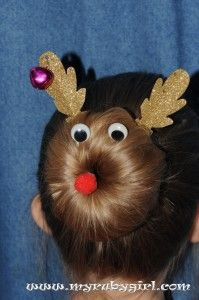 """Rudolph the Red Nosed Reindeer in """"sock bun"""" form. Or shall we say """"Reindeer buns""""? Darling, isn't it? Festive and easy to do! Here's how: Start with hairpins, pipe cleaners, googly eyes and a red crafting pom-pom. (Hair pins are not bobby pins. Hair pins are open on the …"""