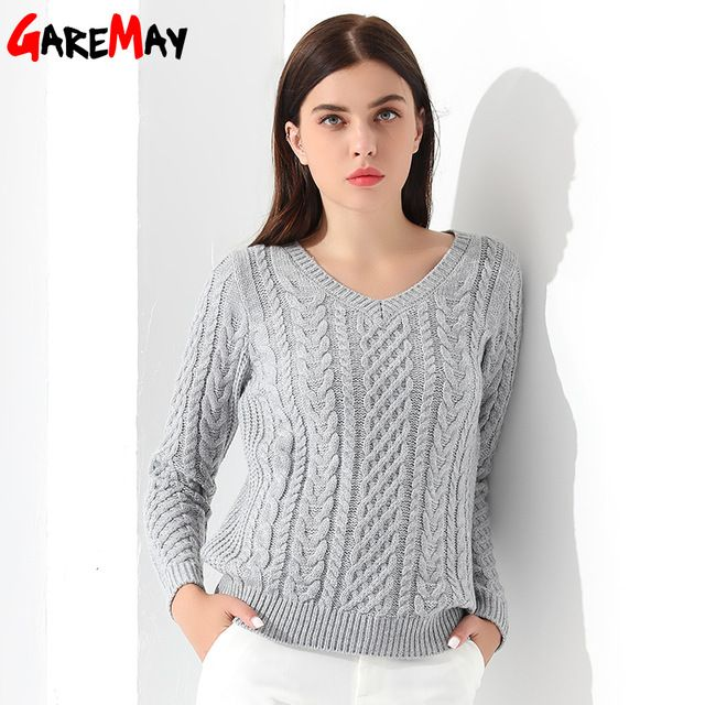 Women Sweaters And Pullovers Long sleeve Knitted White Women's Sweater Female Winter V Neck Sueter Mujer Pull Femme 2017 GAREMAY
