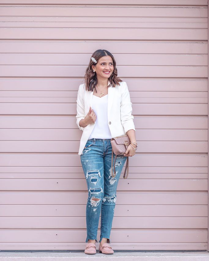 47c3e76aee Ann Taylor White Doubleweave Blazer Distressed Jeans Gucci Marmont Mini Bag  Pink Loafers Pearl Clip Blogger Outfit | king in 2019 | Fashion, Clothing  blogs, ...