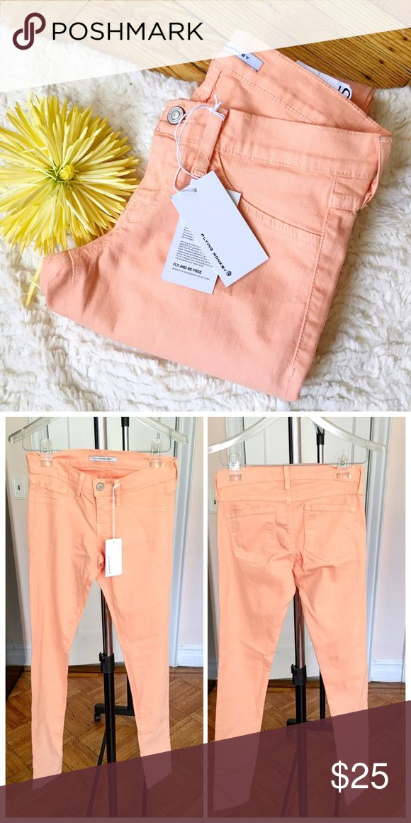 """NWT Flying Monkey peach skinny jeans NWT Flying Monkey peach skinny jeans. Soft and stretchy! Size 25. Waist 13"""" inseam 31"""" rise 7"""". Cotton,lyocell,rayon,poly and spandex. Machine washable! flying monkey Pants Skinny"""