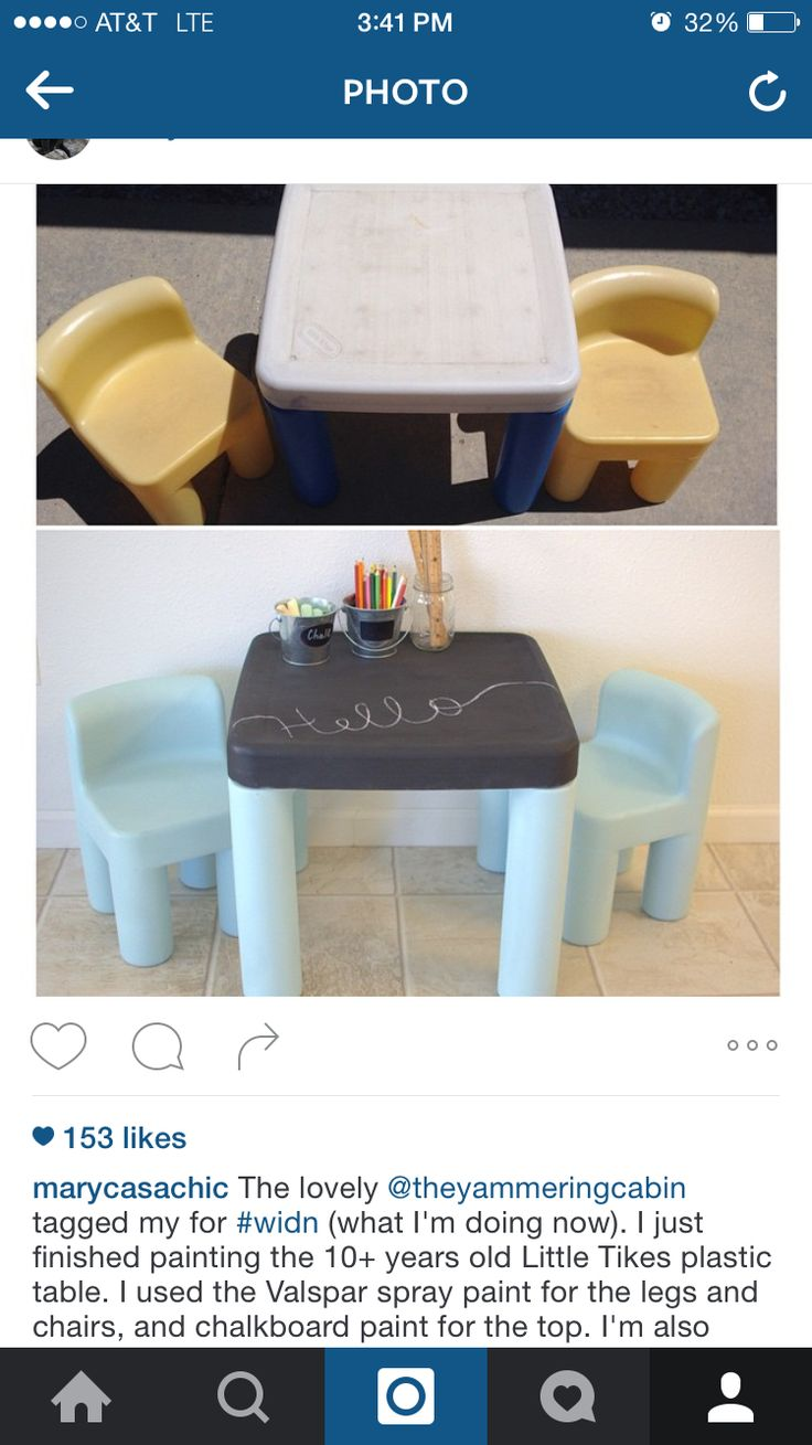 Little Tikes table and chairs. Valspar spray paint for legs and chairs. Chalkboard paint for tabletop. ❤️
