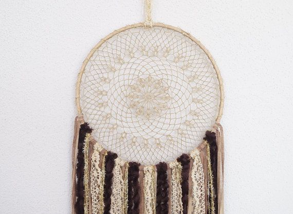 Doily brown dreamcatcher. Wedding decor ideas.