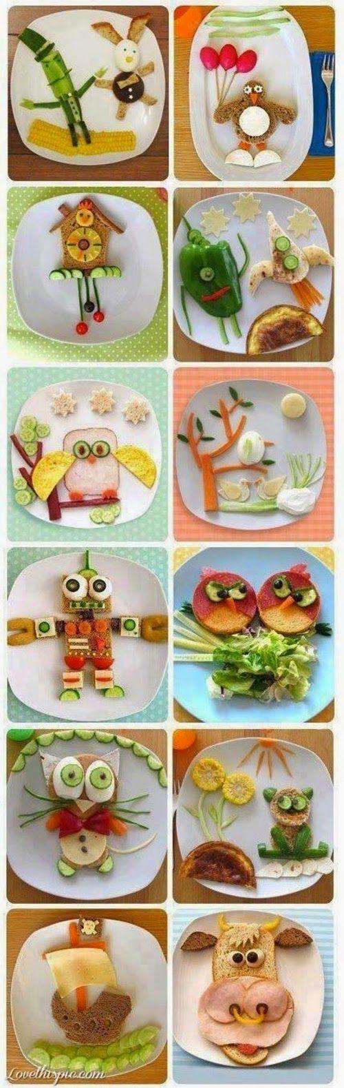 Acho o máximo quem consegue ser criativo na apresentação de pratos, principalmente para crianças. Uma época, no discoverykids , fizeram...