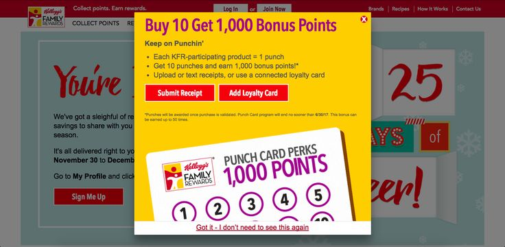 Kelloggs makes their rewards program easy to find with this bold on-site CTA.