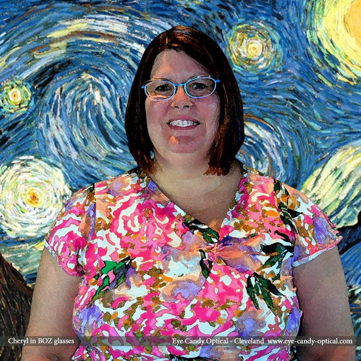 "Cheryl loves Van Gogh's art in her new BOZ designer glasses by J.F. Rey. Eye Candy – is ""The Starry Night"" of finest European Eyewear Fashion! Eye Candy Optical Cleveland – The Best Glasses Store! (440) 250-9191 - Book an Eye Exam Online or Over the Phone  www.eye-candy-optical.com www.eye-candy-optical.com/Contact/sign_up - Join our mailing list"