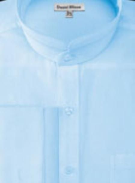 Men's French Cuff Style Banded Collar Shirt in blue color !