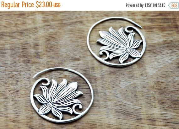 ON SALE Silver Lotus Earrings Lotus Flower by GypsyWindsJewelry