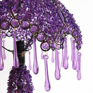 Purple hand-beaded lamp...