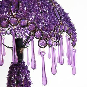 Purple hand-beaded lamp...
