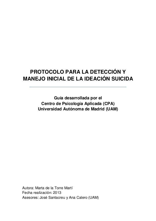 Protocolo Para La Detección Ymanejo Inicial De La Ideación Suicidaguía Desarrollada Por Elcentro De Psicología Aplicada Cards Against Humanity Human