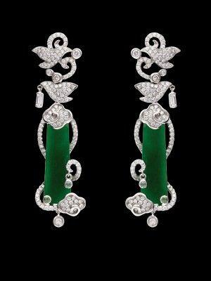 Jadeite Diamond Earring, OnCheong Jewellery