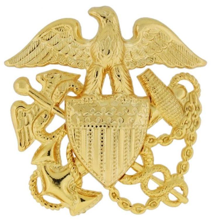 NAVY CAP DEVICE, PUBLIC HEALTH GARRISON GOLD PLATED