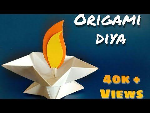 Origami diya | DIY paper candle | star lamp / diya | paper diya | diwali decoration ideas@ArtistInU - YouTube