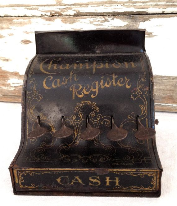 antique toy cash register, salesman sample miniature cash register via Etsy
