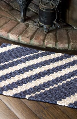 Diagonal Rug Crochet Pattern - matches a pillow.  Also, downloadable at Red Heart Yarn.