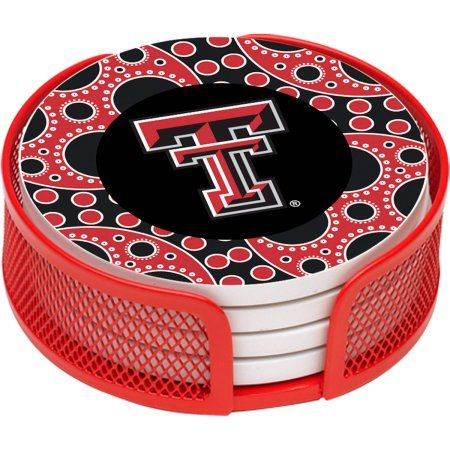 Stoneware Drink Coaster Set with Holder Included, Texas Tech University Circles, Multicolor