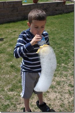 Bubble Snakes -- Cut the bottoms off water bottles and rubber band a wash cloth to them.  Dip them in homemade bubble solution,