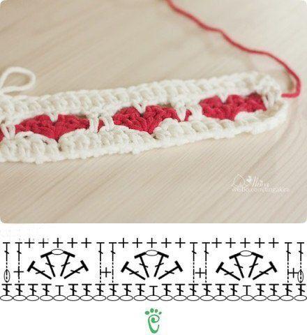 Схема  вязания тесьмы с сердечками
