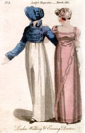 """The Lady's Magazine, March 1812 - Walking Dress. A spencer of blue silk, with facings, collar, wings, and cuffs of plush to match. A bonnet composed of silk and velvet, to agree in color with the spencer. Feather, the same. Walking dress is usually morning dress with outerwear, including a more elaborate headdress, and often you see it labeled """"Morning Walking dress."""""""