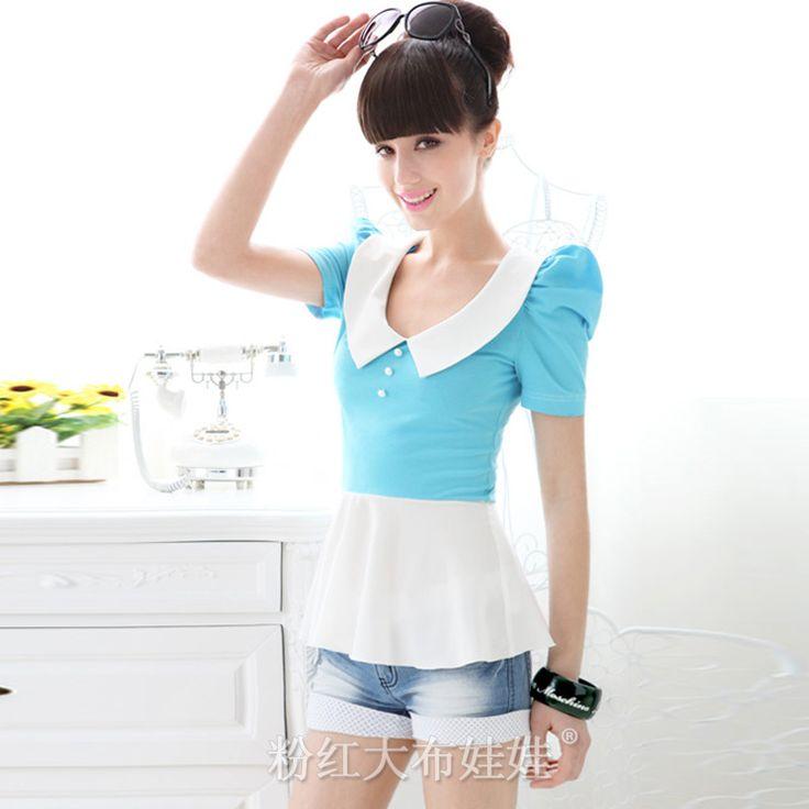Aliexpress.com: Compre 2016 roupas baratas! Azul e branco camisa de manga sopro manga curta mulheres t shirt C15QD de confiança camisetas amor fornecedores em Pink-Doll Store.