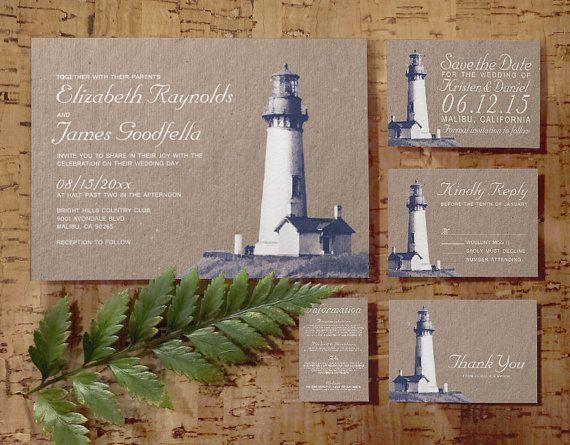 Lighthouse Wedding Invitation Set/Suite Invites by InvitationSnob
