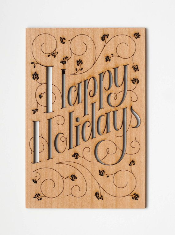 Happy Holidays Card, Real Wood on Etsy, $10.00