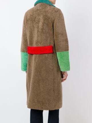 Saks Potts contrast sleeve shearling coat